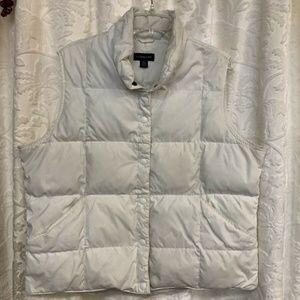 Lands End Women's White Down Filled Vest Snap XL
